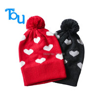 Tou  Hot Baby Hats/Caps  Baby girls Autumn And Winter hat Girls Cotton love pattern Jacquard knit cap  free shipping