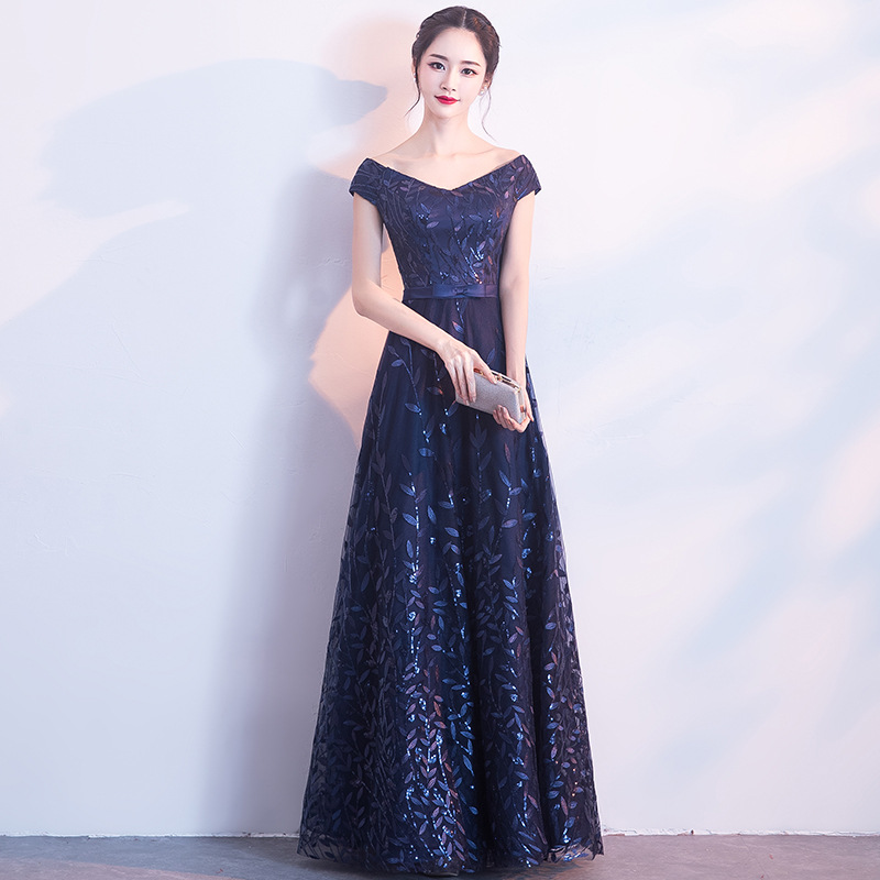 New 2019 Evening Dress Elegant Banquet Sequined Sleeveless Floor-length Long Party Formal Gown plus size Robe De Soiree
