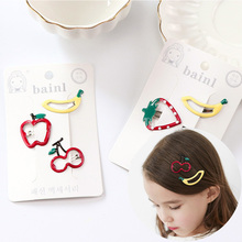 1Pack New High Quality Little Girls Hair Clips Cute Fruit Hairpin Acrylic Metal Barrettes Kid Hair Accessories Children BB Clips