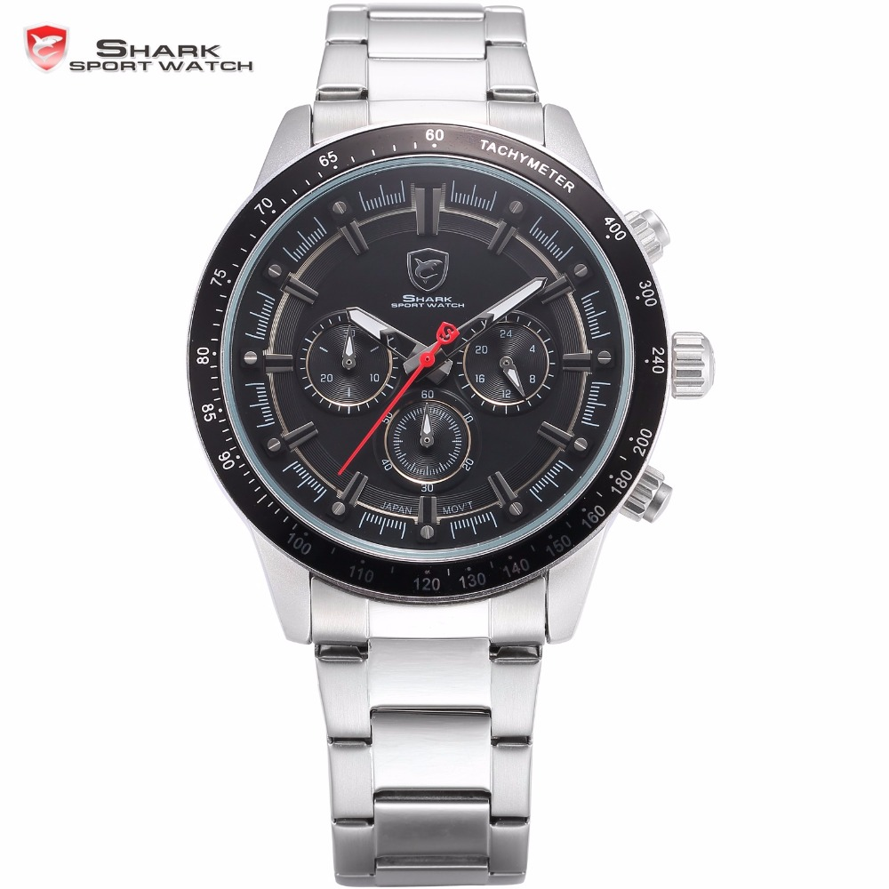 Nurse SHARK Sport Watch Brand Black Stopwatch Function Full Steel Strap Clasp Water Resistant Quartz Mens Watches Clock /SH283<br>