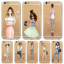 Fashion Sexy Dress Charming Girls Paitned Soft Sillicon Transparent TPU Back Cases Cover For Apple iphone 5 5s SE Phone Cases