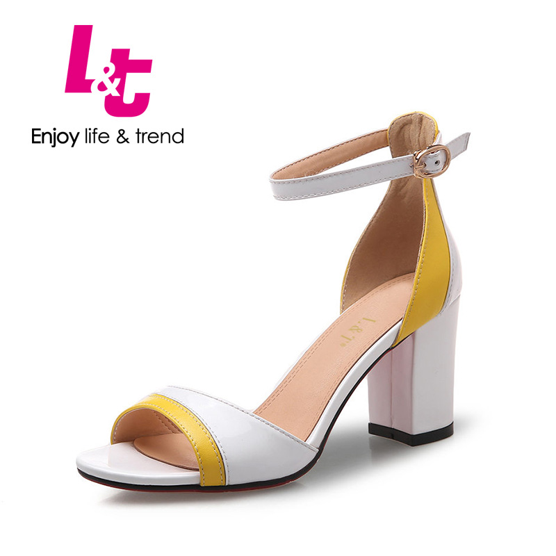 L&T women shoes square high heels ankle strap genuine leather flower sapato feminin sandals classics round toe cW62050(China (Mainland))