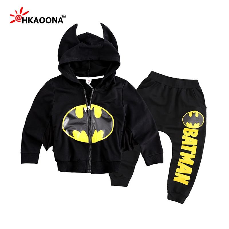 New Autumn Kids Batman Sets Two Pieces Suit Black Hood Sweatshirts+Loose Pants Suit For Baby Boys Girls Sets Kids Clothing Set<br><br>Aliexpress