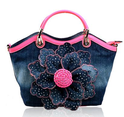 Set auger roses cowboy bag canvas bag ladies handbags one shoulder bag oblique satchel fashion sexy<br><br>Aliexpress