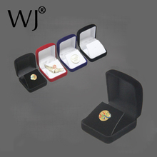 Wholesale Medals Commemorative Coins Pins Merit Badge Display Jewellery Gift Storage Boxes Black Velvet Carrying Case Organizer(China)