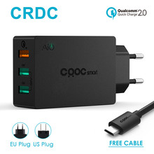 CRDC 42W Quick Charge 2.0 USB Wall Charger 3 Port Smart Fast Mobile Phone Charger For iPhone7 Samsung Galaxy s6 Edge Xiaomi etc(China)