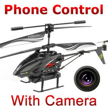 Free shipping 3.5ch Iphone phone Android Remote Control RC Helicopter quadcopter with Camera i-Helicopter WL Toys s215 FSWB