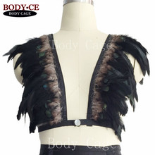 Festival Real Feather Cage Bra Black Epaulettes Shoulder Harness Caged Crop Tops Angel Wings Wedding Dress BurningMan Rave Wear