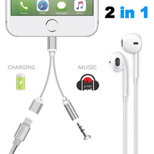 2 in 1 USB Charging Charger Adapter For iPhone 7 iPhone7 Plus Headphone Jack AUX Cable Lighting to DC 3.5mm Audio Converter O35