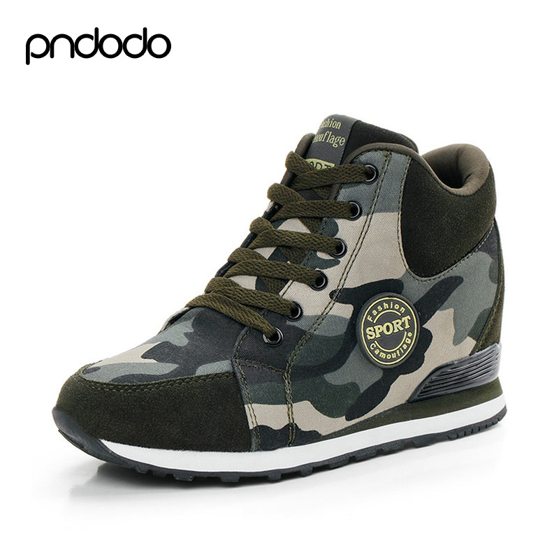 Camouflage Army Ankle Boots High Top Casual Shoes Women Platform Shoes Leather Canvas Height Increasing Winter Women's Shoes(China (Mainland))