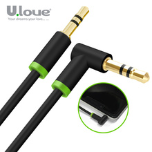 ULOVE 3.5mm Jack Audio Cable 3.5 Male To Male 90 Degree Right Angle Flat Aux Cable For Car Phone Speaker Headphone Aux Cord