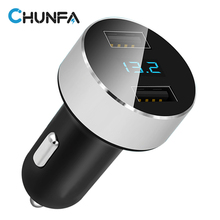 2 Port USB Car Charger with LED Digital Display Car Voltage Mobile Phone Fast Car-Charger Dual Adapter Quick Charge 5V 2.1A 1A