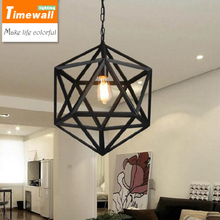 2016 Pendant Lights The Loft Retro Industrial Iron Bar Single Head Wind Cage Hexahedral Diamond Pendant Personality Restaurant