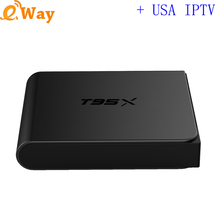 With 1 year USA IPTV account TV live channel vod subscription Android 6.0 Smart tv box network wifi set top box quad  core S905x