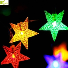 Kingoffer Energy Saving LED Solar Five-pointed Star String Light for Wedding Christmas Bedroom Festival Decoration Garden Tree(China)