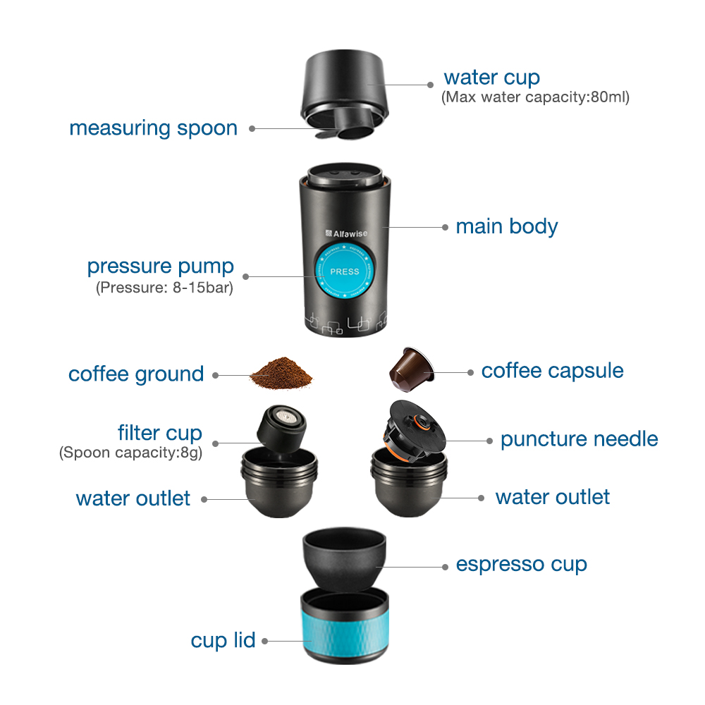 Alfa Wise CF1701BC Electric Manual Coffee Maker Hand Pressure Portable Capsules Espresso Coffee Machine For Home Travel