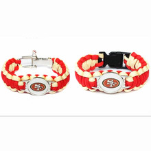 New Arrival USA Football Fans San Francisco 49ers Charm Paracord Survival Bracelet Friendship Outdoor Camping Bracelet 10pcs/lot(China)