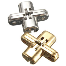 2pcs/Set Hidden Stainless Steel Invisible Concealed Cross Door Hinge for Jewelry Box Silver/Gold(China)