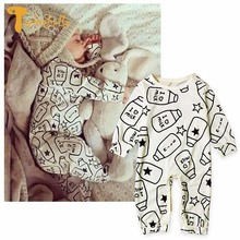 TWINSBELLA Newborn Baby Rompers Spring New Infant Boys Girls Pattern Print Climbing Clothes Autumn Unisex Baby Cotton Jumpsuit