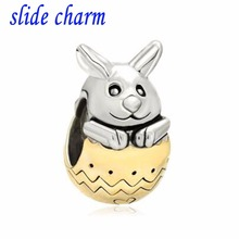 slide charm wholesale Free shipping Plated Tone Cute Rabbit Bunny Easter Bead Charm fit Pandora bracelet(China)