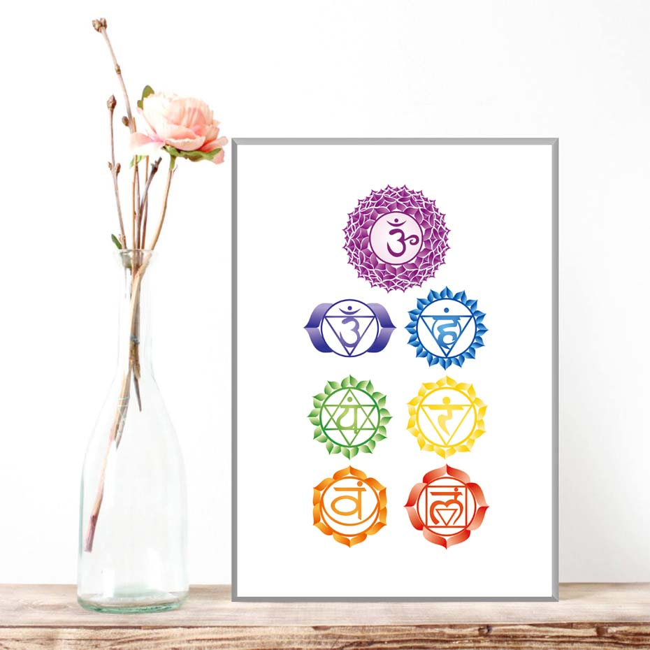 Chakras Canvas Art Print Painting Poster , Health Aum Meditation Yoga Om Symbol Poster Canvas Painting Wall Picture Home Decor (6)