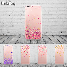 Butterfly Love Hearts Pattern Transparent TPU Phone Case Cover For iPhone 6 6s 5 5s se 7 6plus Girly Silicone Coque