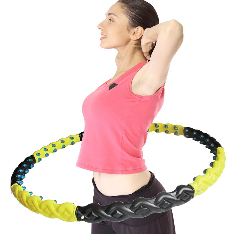 Hula Hoop with Magnet Massage Ball Large and Weighted Hula Hoop Workout Female Slimming Thin Waist Fitness Crossfit for Home Gym<br>
