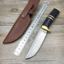 Handmade forged Damascus Steel hunting knife fixed knife copper ebony handle first layer 59 HRC camping tool Straight knife