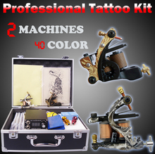 2pcs guns professional tattoo machine set complete tool box power mix colors ink needles tip kit tattoo body paint supplies