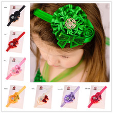 20PCS  Rosette Satin Flower  Headbands Hairband with Bowknot  hair accessories  Baptism Gift