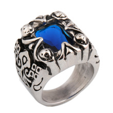 Hot sale Product Bright Blue Glass Engagement Ring Women Man Rings