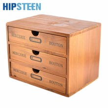 HIPSTEEN Household Essentials 2-Drawer Wooden Storage Chest Box Office Desktop Organizer New Zealand Pine(China)