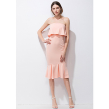 S-XL True Photos 2017 Women Summer Elegant Sexy Off the Shoulder Pink Dress New Strapless Ruffles Sheath Vacation Beach Dresses(China)