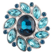 partnerbeads 20MM snap Silver Plated with Deep blue and clear rhinestones  snaps jewelry KC7199