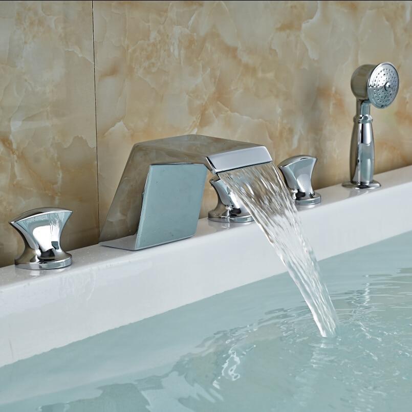 Widespread Waterfall Roman Bath Tub Bathroom Faucet Deck Mount 5 Holes Mixer Taps Chrome Finish<br><br>Aliexpress