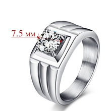 High-end Men's domineering ring with 7.5mm zircon customized stainless steel ring jewelry wholesale RC-010