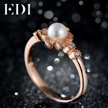 EDI Flower Shape 5mm Natural Pearls Moissanites Diamond 14k 585 Rose Gold Wedding Engagement For Women Floral Fine Jewelry(China)