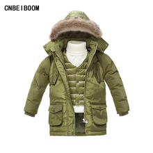 Children Boys Winter Jacket 2016 Kids 2-7 T Parka Jackets White Down Brand Hooded Coats + Vest 2 Pcs Sest Baby Infantil Clothes