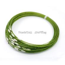 "Steel Wire Necklace Cord, Nice for DIY Jewelry Making, with Brass Screw Clasp, YellowGreen, 17.5""; 1mm"