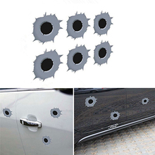 6pcs/set Scratch Resistant Funny Personality Car Decal Creative Fake Realistic Bullet Shot Hole Stickers Car Styling Accessories