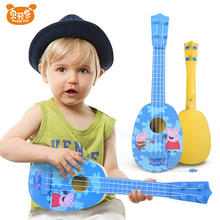 Peppa Pig Guitar Toy Adjustable Strings Lovely Pattern Children Plastic Ukulele Educational Toy Musical Instruments for Kids D50(China)