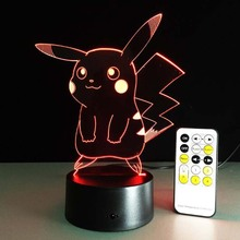 Hot New Kids Toy Pokemon Usb Lamp 3D Pikachu Led Night Light Remote Control Pocket Monsters Lampara Xmas Valentine Birthday Gift