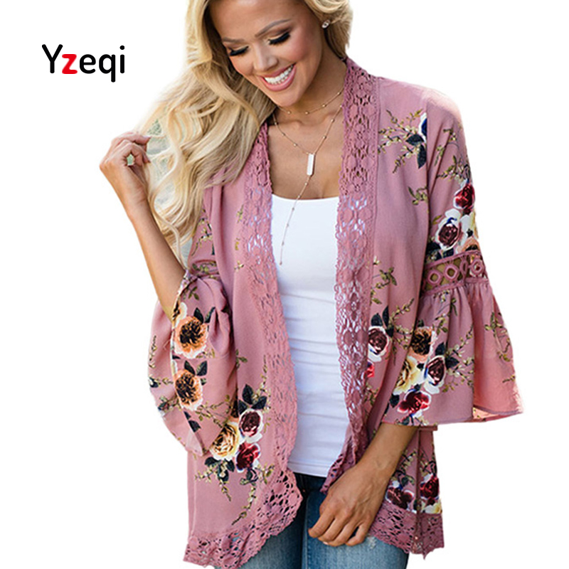 Yzeqi Chiffon Blouse Tops Women Lace Floral Open Cape Casual Chiffon Casual Loose Blouse Kimono Cardigan Flare Plus Size Clothes