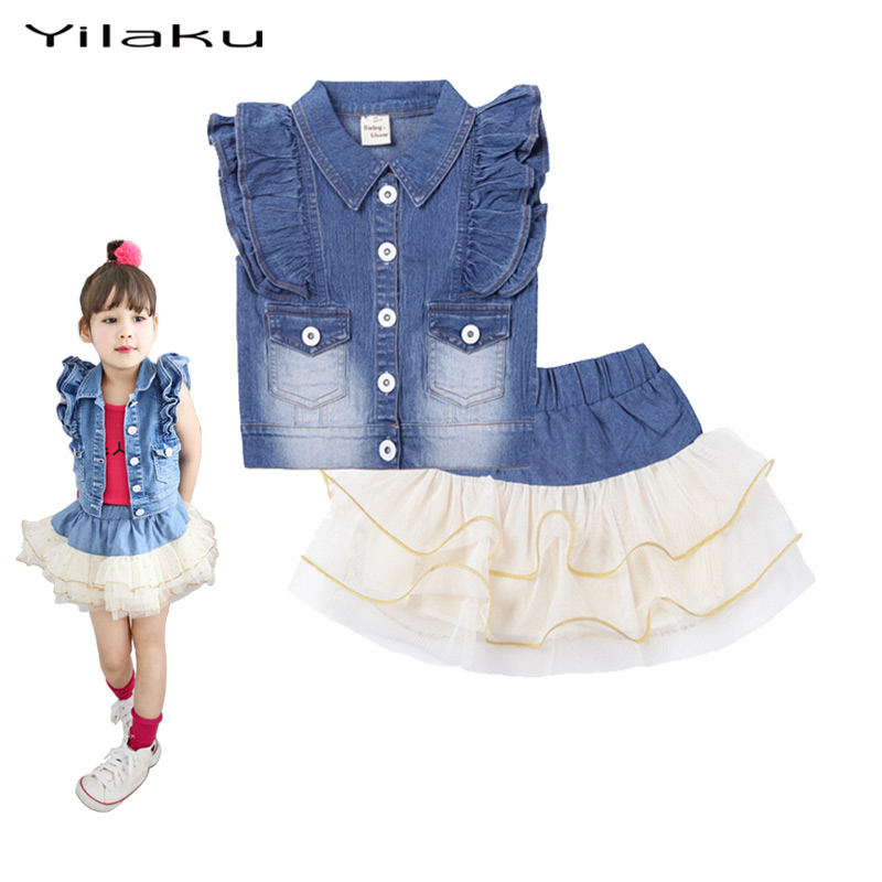 Tutu Girls Jeans Skirt Sets Kids Clothes Denim Coat+Fluffy Pettiskirts Outfits Girls Clothing Set Dance Party Costumes CF181<br><br>Aliexpress