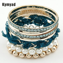 Kymyad Simulated Pearl Bangles Bracelets Sets For Women Gold Color bangles Lace Charm Multi layer Bangles bijoux pulseras