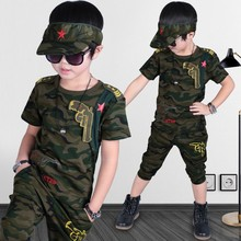 Male child embroidered logo Camouflage short-sleeve T-shirt+pants 2 pieces set summer boys sports suit(China)
