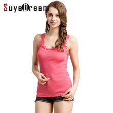 Women Lace Tanks 70%Real Silk 30%Cotton Lace Tank tops Sleeveless Bottoming shirt 2017 New Vest Solid color White Black Pink(China)