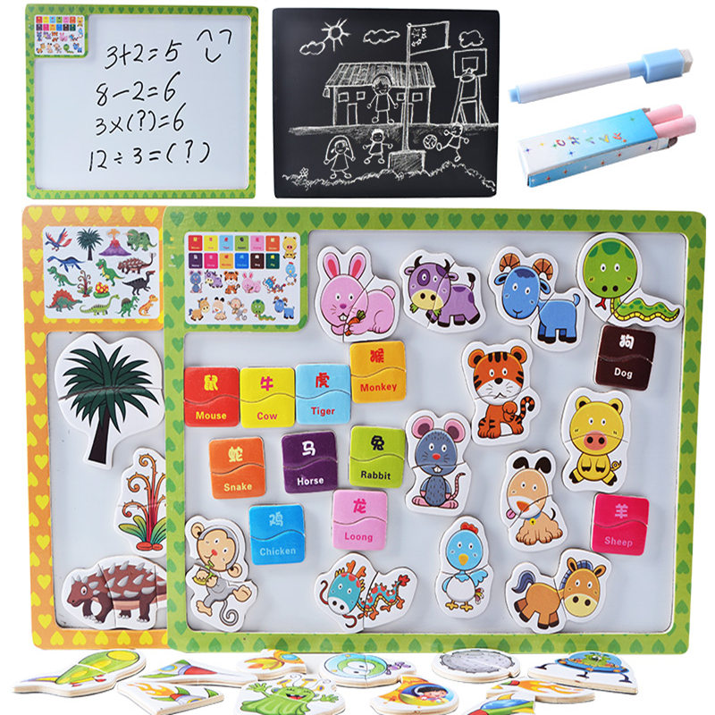 New Magnetic Puzzle Drawing Board Double-side Animal/Vehicle Puzzle Child Learning Educational Wooden Toys Birthday Gift(China)