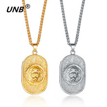 UNB Gold-color Lion Head Chicago Shield Carved Round Necklace Badge Pendant Mens Womens Fashion Jewelry DA3032(China)