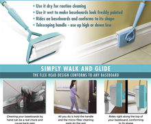 Details about Baseboard Buddy Cleaning Mop Blue Plastic Steel white Mop Simply Walk &Glide Extendable Microfiber Dust Brush(China (Mainland))